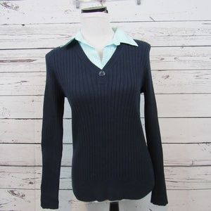 Izod navy blue sweater with checked blouse collar